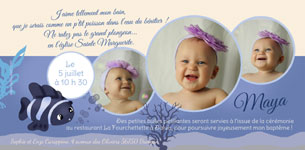 Carte invitation bapteme theme Marin