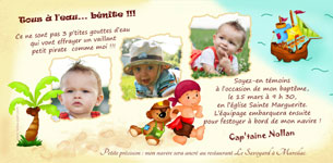 Carte invitation bapteme thème Pirate